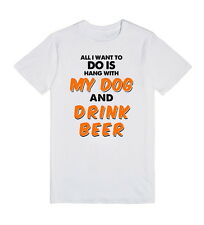 Womens All I Want To Do Is Hang With My Dog Drink Beer  T-Shirt Tshirt