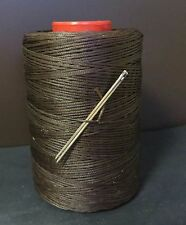 RITZA TIGRE WAXED HAND SEWING THREAD 1.0m FOR LEATHER/CANVAS & 2 NEEDLES M BROWN