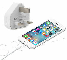 Genuine Apple iPhone 6s 5c 5s iPad iPod Mains Wall 3 Pin Charger Plug USB Cable