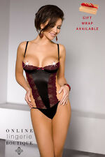 Black Satin Burgundy Lace Body Playsuit Half Cups Thong Casmir Lingerie Nati