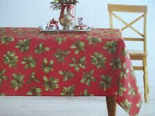 NWT, $26. MSRP,  St. Nicholas Christmas Holly Berry Tablecloth
