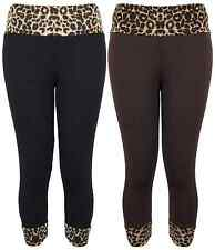 Damen Übergröße Stretch 3/4 Leggings Leopardenmuster Damen Hose 12-26