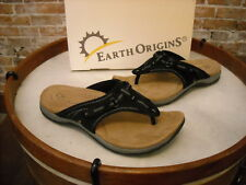 Earth Origins Black Suede Swing Sporty Thong Sandal NEW