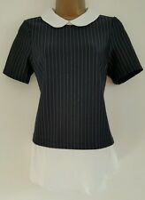 NEW Red Herring 8-18 Pin Striped Layered Peter Pan Collar Top Blouse Black White
