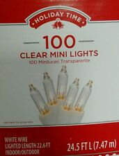 Holiday Time 100ct Clear Mini Lights White Wire Christmas