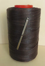 RITZA TIGRE WAXED HAND SEWING THREAD 0.8m LEATHER/CANVAS  & 2 NEEDLES MID BROWN
