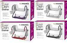 Deluxe 2 Tier Kitchen Dish Drainer Plates Rack Glass Holder with Tray.