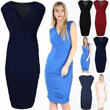 Womens Wrap Over Deep V Neck Mini Dress Ladies Side Ruched Soft Bodycon 8-22
