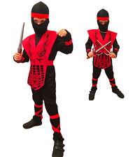 Boys Kids Green Ninja Power Fancy Dress Costume Child Cobra Dragon Ninja 4-10