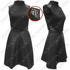 NUOVO DA DONNA POLO PU VESTITO GONNA NERO TEXTURE LOOK PATTINATRICE VESTITI