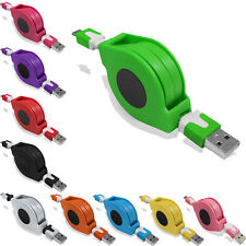 Retractable Micro USB Sync Data Transfer Power Charger Charging Flat Cable Lead