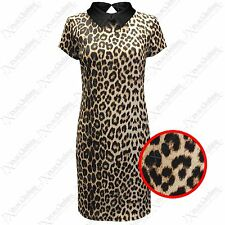 NUOVA STAMPA LEOPARDATA DA DONNA COLLETTO PETER PAN VESTITO ADERENTI LOOK TOP