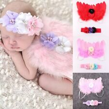 Infant Newborn Baby Girl Feather Angel Wings Flower Headband Photo Props Costume