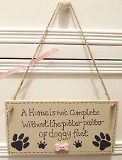 HANDMADE PERSONALISED PLAQUE SIGN PET DOG PAW BREED BONE SHABBY CHIC HOME GIFT