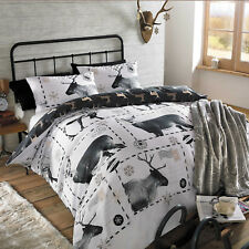 Christmas Quilt Duvet Cover Bedding Set Reindeer Stag Xmas Black White Santa NEW