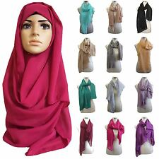 New Plain Chiffon Hijab  Large Scarf Wrap Shawl Various Colours