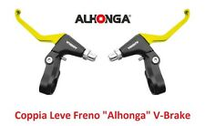 "820AM Coppia Leve Freno ""Alhonga"" V-Brake Gialle per bici 26-28 Fixed Scatto Fis"