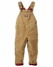 New OshKosh Buffalo Flannel Lined Cordroy Overalls NWT 18m 24m 2t 3t 4t 5t Brown