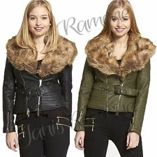 New Womens Ladies Faux Fur Collared Quilted Belted Biker Jacket Zip Up Crop Coat