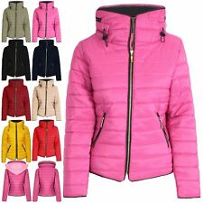 Womens Ladies Quilted Puffer Bubble Padded Jacket Fur Collar Gold Zip Thick Coat