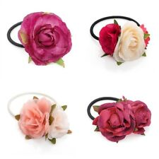 Small Flower Motif Hair Elastic Bobble Ponytailer Hair Band Choice of Flowers
