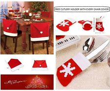 NEW Christmas Santa Hat Dining Chair Seat Covers Party Dinner Table Decoration