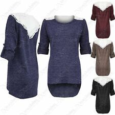 NEW LADIES MARL KNIT CROCHET BACK TOP WOMENS DOLLY LACE JUMPER HILO 3/4 SLEEVE