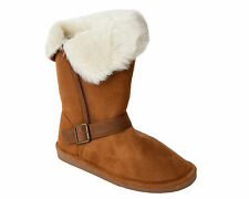 WOMENS CHESTNUT FUR LINED FLEECE WINTER HIGH ANKLE ZIP BOOTS LADIES UK SIZE 3-8