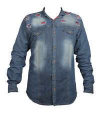 Denim double pocket shaded patch design Men's Casual Shirt(Size-M)