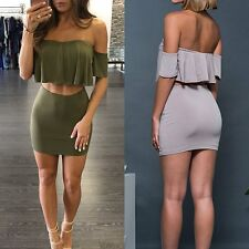 Women Bodycon Bandage Crop Tops and tube Skirt Clubwear Party Dress 2pcs Set