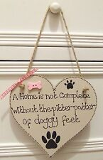HANDMADE PERSONALISED PLAQUE SIGN PET DOG HEART ANY BREED SHABBY CHIC HOME GIFT