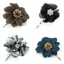 Small Flower Motif Hair Grip Slide Clip Styles: Animal Print, Organza, Gold Stem