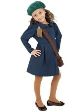 Kids 1940s World War II Evacuee Girls Book Week Fancy Dress Costume Party Outfit