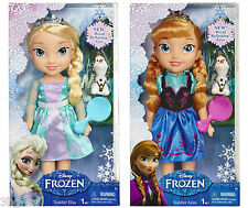 "Disney Frozen Toddler Deluxe 14"" Anna OR Elsa Doll & Small Olaf Figure New Boxed"