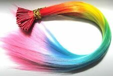 """18"""" Rainbow Feather Hair Extensions- Vivid Colour I-Tip Plus FREE Micro Beads"""
