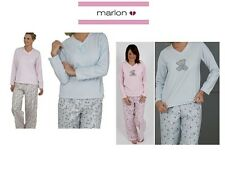Ladies Fleece 2 Piece Pyjamas In Plain Or with Teddy Print In Pink Or Blue 18-20