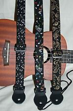 """Ukulele Instrument Strap 1"""" width - Music Notes Collection"""