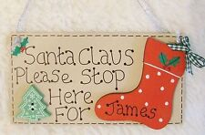 HANDMADE PERSONALISED NAME CHRISTMAS STOCKING SANTA STOP HERE PLAQUE SIGN GIFT