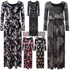 NEW FLORAL LACE PRINT LONG SLEEVE PUFFBALL BALLOON TOGA MAXI DRESS PLUS SIZE