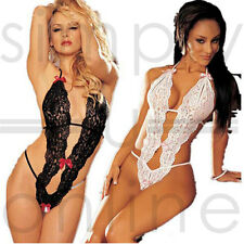 Ladies Sexy Sheer Lace Lingerie Teddy One Piece Thong Bodysuit - One Size 6 - 10