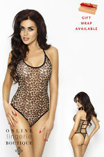 Animal Leopard Print Body Teddy Playsuit Thong Open Back Passion Lingerie Nina