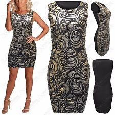 NEW LADIES SEQUINS PAISLEY DRESS BODYCON BLACK PARTY SLEEVELESS LONG WOMEN TOPS