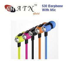 ATN Gold S30 Flat Noodle Cable 3.5MM Earphone With Mic & Inline Remote