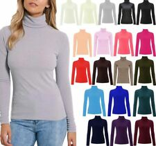 WOMEN'S NEW RIBBED TURTLE POLO ROLL NECK LONG SLEEVE TOP UK 8-26