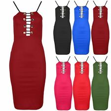 Womens Golden Button Lace Up Ladies Thin Strap Bandage Party Bodycon Midi Dress