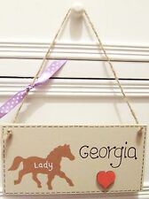 HANDMADE PERSONALISED PLAQUE SIGN HORSE GIRLS ROOM SHABBY CHIC HOME XMAS GIFT