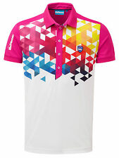 Bunker Mentality Mens Cmax Geo Polo - Hot Pink RRP £58