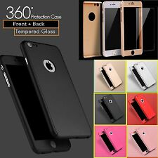 CASE Cover For iPhone 6 6s Plus Hybrid 360° Hard Ultra thin Case+Tempered Glass