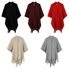 New Women's Ladies Knitted Tassle Baggy Cardigan Cape Warm Cape Jacket Top Shawl