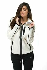 adidas Womens White Windbreaker Full Zip Hooded Tech Running Fitness Jacket AA09